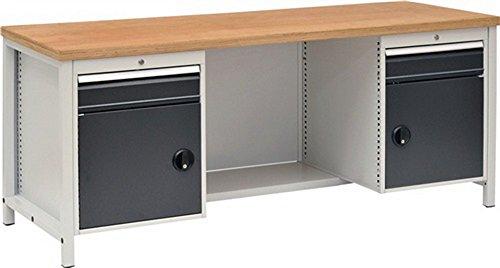 Werkbank B2000xD750xH859 grijs/antraciet, laden 2x150 deuren 2x450 40mm Multiplex
