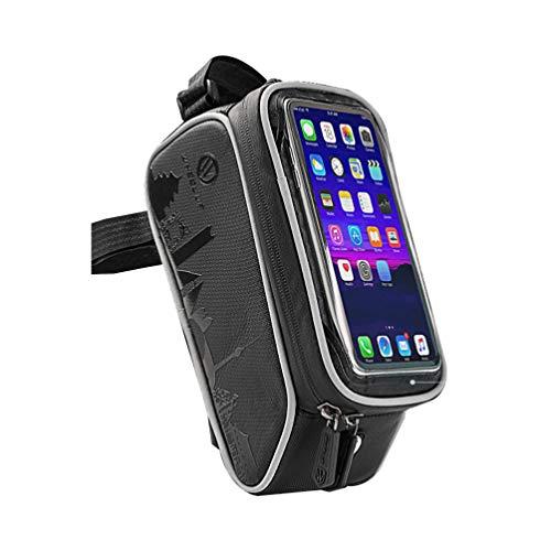 LIOOBO Borsa per Bici Borsa per Manubrio Bici Touch Screen Bici per Manubrio Porta Telefono Frontale portaborse Porta Cellulare Borse per Cellulare Nero