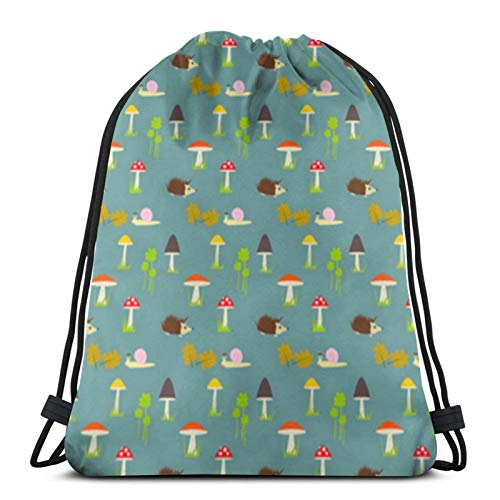 Affordable shop Mushrooms Hedgehogs Snail Drawstring Backpack Sport Bags Cinch Tote Bags For Traveling And Storage For Men And Women 17X14 Inch