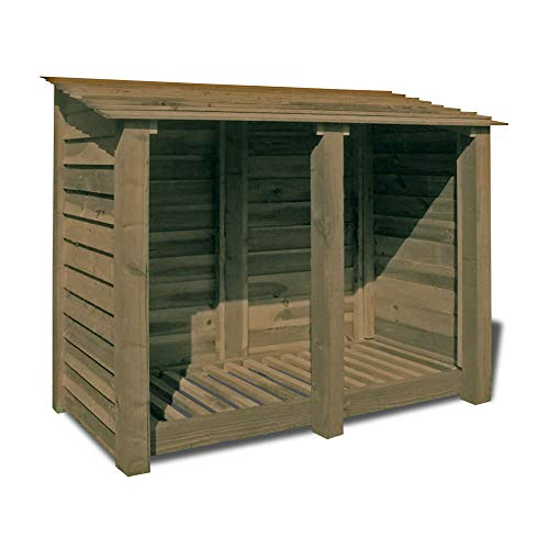 Rutland County Garden Furniture Cottesmore 4ft Tall Log Store/Garden Storage Heavy Duty Pressure Treated Timber With Forward Sloping Roof (Solid Log Store Only, Rustic Brown)