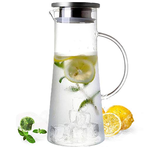 MUHOO Glas Krug 1,5L Glaskaraffe mit Deckel Glas Karaffe Wasserkrug aus Borosilikatglas...