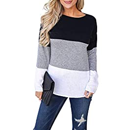 Blooming Jelly Womens Long Sleeve Top Striped Elbow Patchwork T Shirt Casual Crew Neck Jumper for Ladies