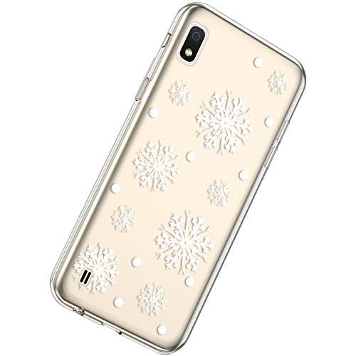 Herbests Estuche Compatible para Samsung Galaxy A10 Funda de Silicona Transparente Ultra Delgado Funda TPU Suave Case Serie de Navidad Crystal Clear Flexible Goma Cover,Nieve