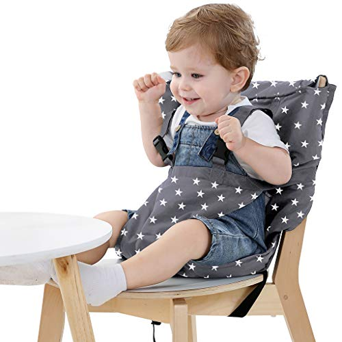 Baby portable Hochstuhlabdeckung tragbarer Hochstuhl mobile baby Reise Baby Hochstuhl Sicherheitsgürtel/Esszimmerstuhl/faltbar und tragbar (Grau)