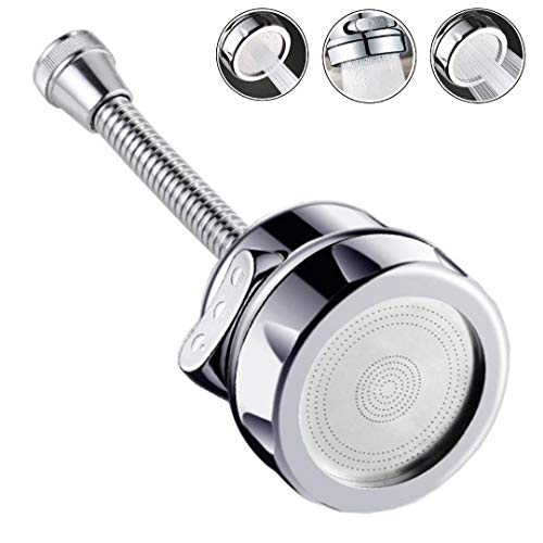 OLWICK® 1 Pcs Stainless Steel Fully Rotatable Water Saving Faucet 3 Modes Adjustable Faucet Sprayer Head, Silver Chrome Finish Anti Splash Power Spray Tap and Bubbler Connector for Kitchen. (Long)