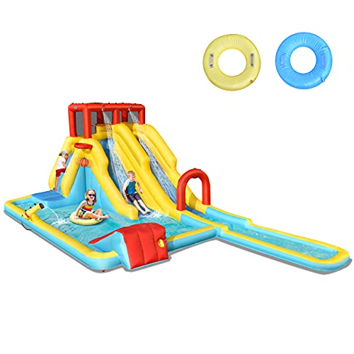 COSTWAY Inflatable Bouncy Castle, Jumper House Water Park with Double Slides, Water Gun, Basketball Hoop and Splashing Pool (Red+Yellow)