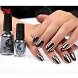 Aland 6ml Metallic Chrome Mirror Effect Manicure Tool Nail Art Polish Varnish Sticker 6Ml Mirror Nail Polish #7 Mirror Obsidian Black
