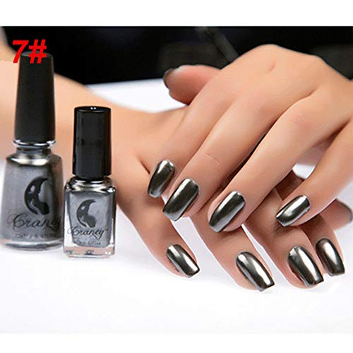 Acamifashion 6ml Metallic Chrome Mirror Effect Manicure ToolNail Art Polish Varnish Sticker - #7 Mirror Obsidian Black
