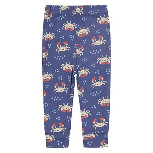 Piccalilly Blaue gemusterte Leggings für Baby, Kleinkind + Kinder, Bio-Baumwolle, Ozean-Krabben-Druck Gr. 5-6 Jahre, violett