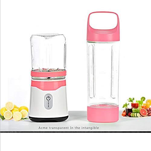 Hetick Stand Mixer Smoothie, USB Juicer Wiederaufladbarer Tragbarer Mixer, 6 Blades mit 2 Arten Tassen 350 / 500ML, pink