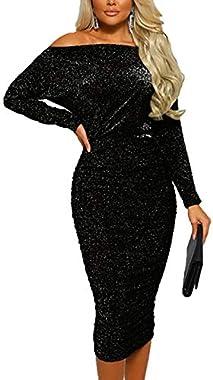Women Sexy Dresses Long Sleeve Glitter Off Shoulder Bodycon Midi Party Dress