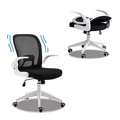 Ergonomic Office Chair Desk Chair for Home Office,Folding Mesh Computer Chair with Lumbar Support and Flip-up Arms,White