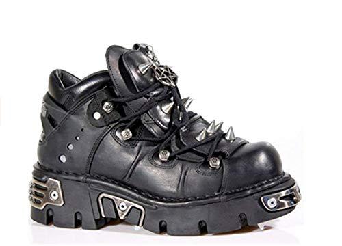New Rock Newrock 110 Unisex Schuhe Metallic Schwarz Leder Biker Gothic Boots, Schwarz - Schwarz - Größe: 45 EU