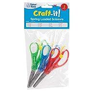 Baker Ross Spring-Loaded' Kids Scissors (Pack of 3) for Kids Arts and Crafts