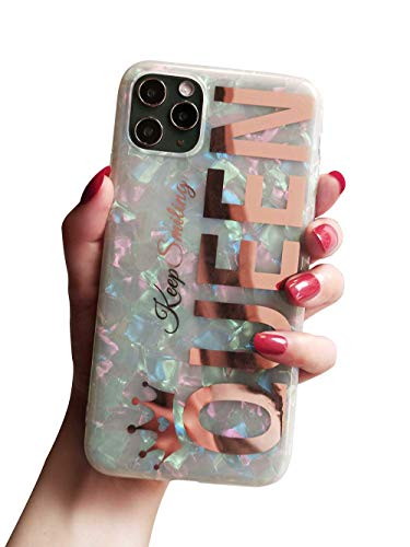 KITATA Glitter Sparkling iPhone 11 Pro Max Case for Women Girls Rose Gold Queen Print Girly Design, Soft TPU Silicone Hybrid Protective Sparkle Slim Cover Pearly-Lustre Shell Colorful Iridescent Cute