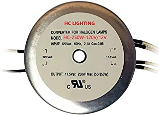 HC Lighting - Electronic Halogen and LED Transformer 250 Watt Maximum Load Capacity 120 Volt Input / 12 Volt Output to be Used with MR16, JC G4, G5.3, and G6.35 Base Bulbs