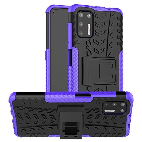 LiuShan Compatible con Moto G9 Plus Funda,Silicona Híbrida Rugged Armor Soporte Cáscara de Cubierta Protectora de Doble Capa Caso para Motorola Moto G9 Plus Smartphone(Not fit Moto G9 Play),Pú