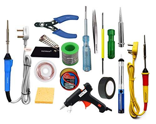 FADMAN Soldering Iron 25 W Simple - 2 | Cutter | Paste | Tester | Bit | Desolder Pump | ScrewDriver | Stand | Wick | Solder Wire | Tweezer | Glue Gun 20W Black | Sponge | Tape |