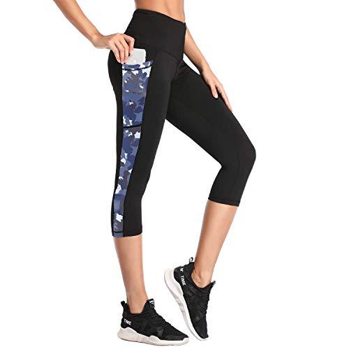 SIMIYA Damen Leggings, Lang Frauen Sporthose, Stretch und Hohe Taille, 1 Pack(Tarnfarbe 3/4 Hose,XS)