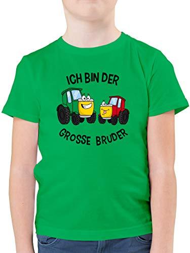 Geschwisterliebe Kind - Ich Bin der Grosse Bruder Traktor - 128 (7/8 Jahre) - Grün - groser Bruder Geschenk - F130K - Kinder Tshirts und T-Shirt für Jungen