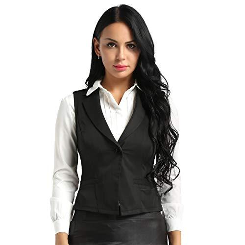 Alvivi Damen Weste Anzug-Weste V-Ausschnitt Kellnerweste MODERN Slim Fit Kellnerweste Workwear Business Beiläufige Golf Waistcoat Weste Schwarz M
