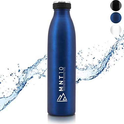 MNT10 Trinkflasche Edelstahl - 500ml, 750ml, 1000ml - Isolierte Thermoflasche, Flasche kohlensäure geeignet, Isolierflasche auslaufsicher für Sport, Wandern, Schule, Uni (Dunkelblau, 750 ml)