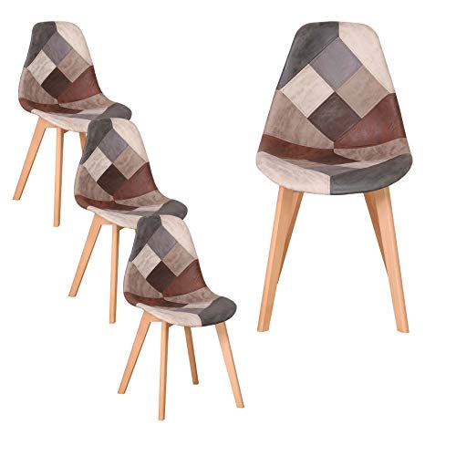 GrandCA HOME Lot de 4 chaises de Salle à Manger, Chaise de Style scandinave, chaises Patchwork, Chaise en Lin avec Pieds en Bois Massif pour Salle à Manger, Salon, Restaurant (Marron-4)