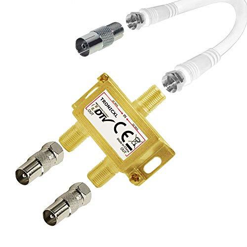 TronicXL IEC Verteiler Antennenverteiler TV Kabel Adapter Kabelfernsehen 2fach DVBC Koax zb für Unitymedia Splitter Vodafone Netcologne Netaachen Netkassel Telecolumbus Primacom Ewe Unicable