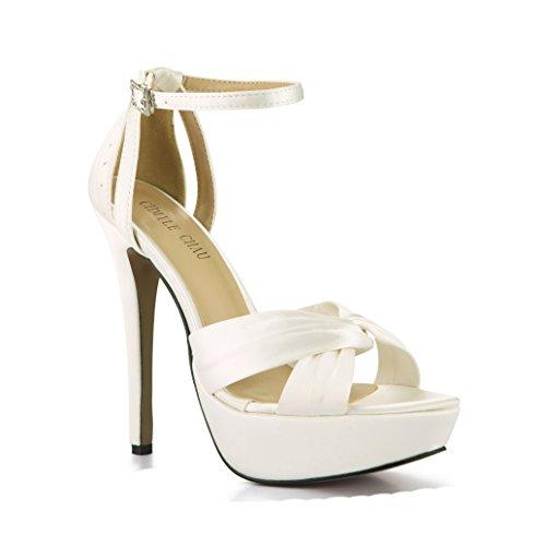 CHMILE CHAU-Zapatos para Mujer-Sandalias de Tacon Alto de Aguja-Elegantes-Novia-Boda-Nupcial-Vestido de Fiesta-Punta Abierta-Correa de Tobillo-Plataforma 3cm