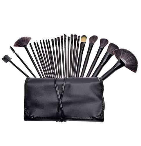 GeekerChip Brochas de Maquillaje,24 Piezas de Conjuntos de Pinceles de Maquillaje con Bolsa de Viaje,para las Cejas,Base de Maquillaje,Polvos,Crema,Set de Brochas de Maquillaje(Negro)