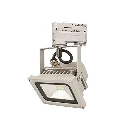 Xenterio X-3PS-14W-6500-G, 3-Phasen LED-Flutlichtstrahler aus Aluminium, 230V, Leistung 14W, Lichtstrom 1200lm, 6500 K (Lichtfarbe kaltweiß), Farbe silber/grau
