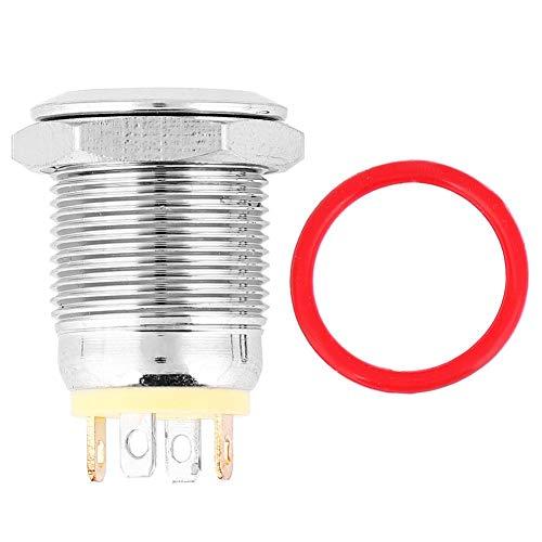 Interruptor de Contacto Plateado, luz LED Amarilla, Impermeable, Cabeza Plana, botón pulsador de Metal con reinicio automático con símbolo de Encendido, 12 mm(24V)