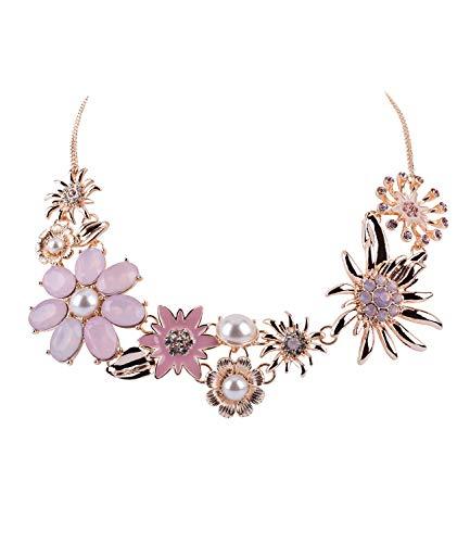 SIX Oktoberfest - Damen Halskette, Statement-Kette mit floralem Muster und großen Blumen, Kostüm, Karneval, Fasching, Verkleidung (779-658)