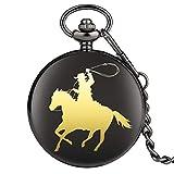 ZHAOXIANGXIANG Montre De Poche,Cowboy Cheval Équitation Modèle Quartz Montre De Poche Classique Chaîne Poche Bijoux Montre Pendentif Cadeau pour Homme Femme