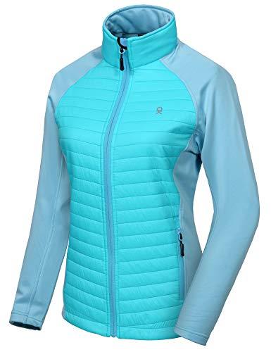 Little Donkey Andy Isolierte Wanderjacke für Damen,Thermo Running Hybrid Jacke, Leicht, atmungsaktiv und warm Blau Glanz M