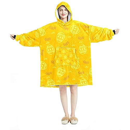 Sudadera con capucha de gran tamaño, manta de franela sherpa, con bolsillo para adultos, hombres, mujeres, colorido huevo de Pascua, Multicolor 10, talla única grande
