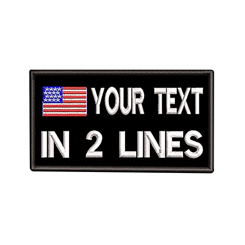 Custom Tactical Name Patches 3.5'W x 2'H Personalized Military Number Tag Customized US Flag Patch for Multiple Clothing Bags Vest Jackets Work Shirts (Black)