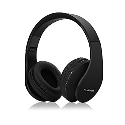 Emopeak Bluetooth Headphones Over Ear Hi-Fi Wireless Stereo Headset, Foldable, Soft Memory-Protein Earmuffs, Built-in Mic and Wired Mode for PC/Cell Phones/TV (Q1-01) (Q1Black)