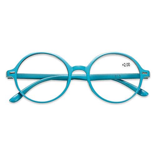 KOOSUFA Lesebrille Damen Herren Leicht Retro Runde Nerdbrille Lesehilfen Sehhilfe Vollrandbrille Anti Müdigkeit Brille mit Stärke 1.0 1.5 2.0 2.5 3.0 3.5 4.0 (Blau, 1.5)