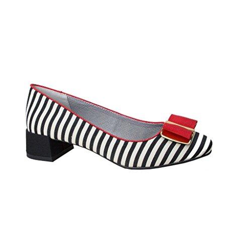 Ruby Shoo Damen Schuhe June Vintage Striped Streifen Pumps (37, Schwarz-Weiß Gestreift/Rot)