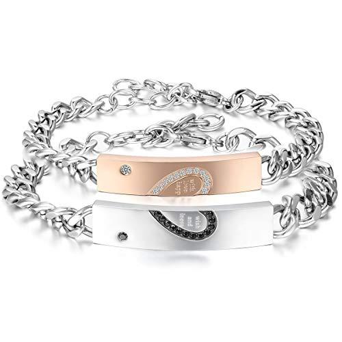 JewelryWe 2pcs Pulseras Plateadas de Parejas Enamorados Eres Mi Corazón Pulseras de Corazón Hombre Mujer Acero Inoxidable Plateado Oro Rosa, San Valentín