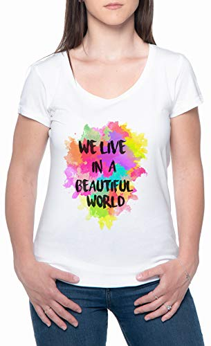 We Live In A Beautiful World Watercolor Blanco Mujer Camiseta Mangas Cortas Tamaño L Womens T-Shirt White Size L