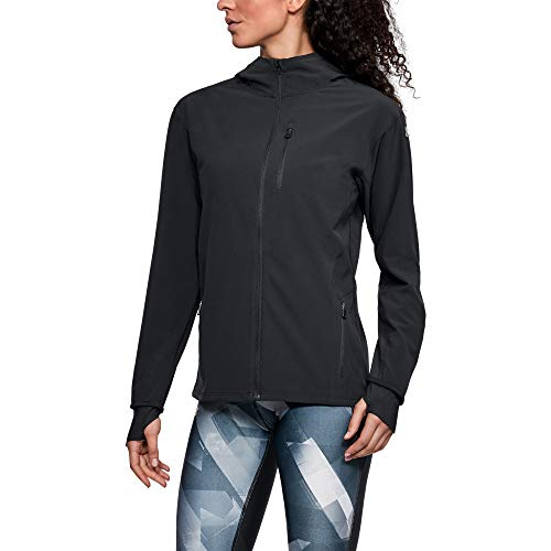 Under Armour Women's Outrun The Storm Jacket, Black /Reflective, Medium
