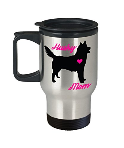 Husky Mom Travel Mug - Insulated Portable Coffee Cup With Handle And Lid For Dog Lovers - Perfect Christmas Gift Idea For Women - Novelty Animal Lover Quote Statement Accessories