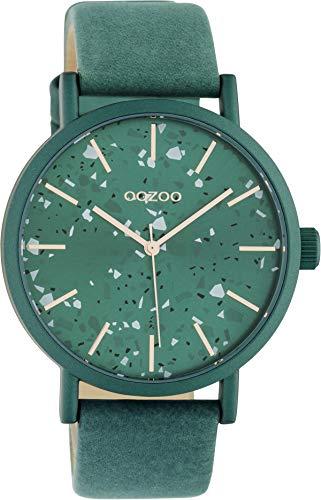 Oozoo Damenuhr Terrazzo Design mit Lederband 40 MM Grün C10411