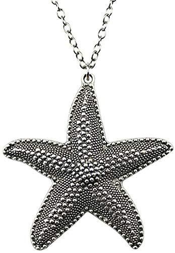 ZHIFUBA Co.,Ltd Collar 67x63mm Collar con Colgante de Estrella de mar Grande para Mujer Collar Cadena Joyería Vintage Color Plata Antigua