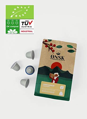 BIO Kaffeekapseln von ØNSK   Kompatible Kaffeekapseln für die Nespresso®-Kaffeemaschine   Kompostierbare Kapseln ohne Aluminium oder Kunststoff 30 Kapseln - Corcasan Lungo
