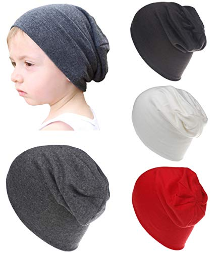 Qandsweet Baby Boy's Hat Kids Cool Knit Beanie Hats Toddlers Caps (4 Pack Boy)