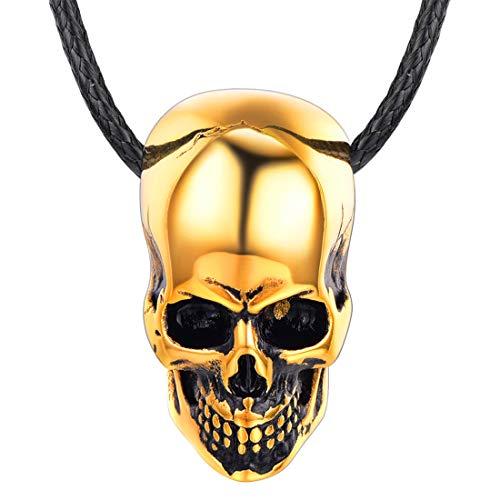 U7 Herren Halskette schwarz Lederkette und 18k vergoldet Totenkopf Anhänger Gotik Schädel Halsband Punk Stil Modeschmuck Geschenk für Biker Rocker(Gold)
