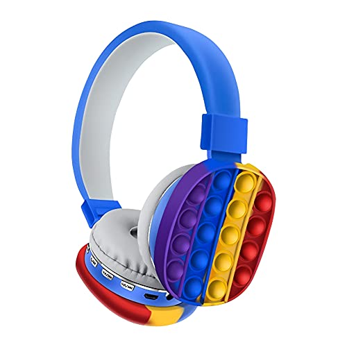 Lindos Auriculares Bluetooth de Silicona sobre la Oreja, Auriculares inalámbricos con cancelación Activa de Ruido con Burbujas de Empuje emergente, para TV/Smart/Teléfono/computadora/Tableta